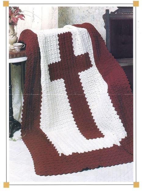 cross afghan crochet pattern religious blanket throw afghans