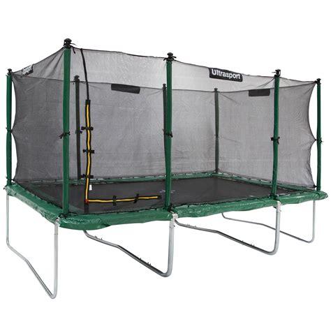 ultrasport premium trampoline de jardin bleu    cm