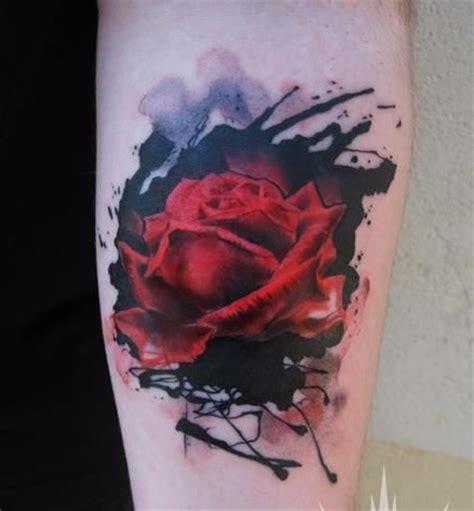 Modele Tatouage Rose Rouge Aquarelle  Tatouage Femme