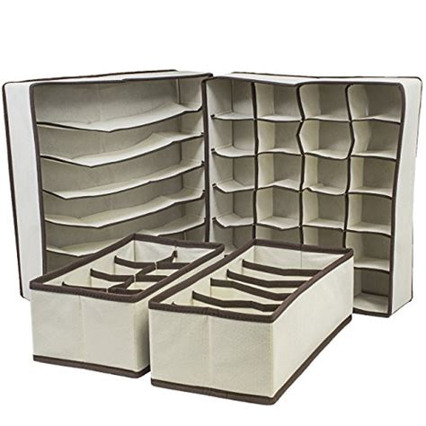 sorbus 174 set of 4 foldable drawer dividers storage boxes