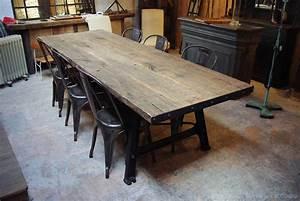 Metal Wood Industrial Table Par Le Marchand D39Oublis