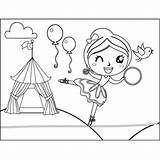 Walker Tightrope Circus Winking Coloring sketch template
