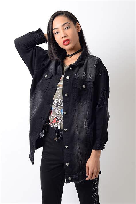 Stylish Black Distressed Oversized Denim Jacket   Stylish Jackets u0026 Coats