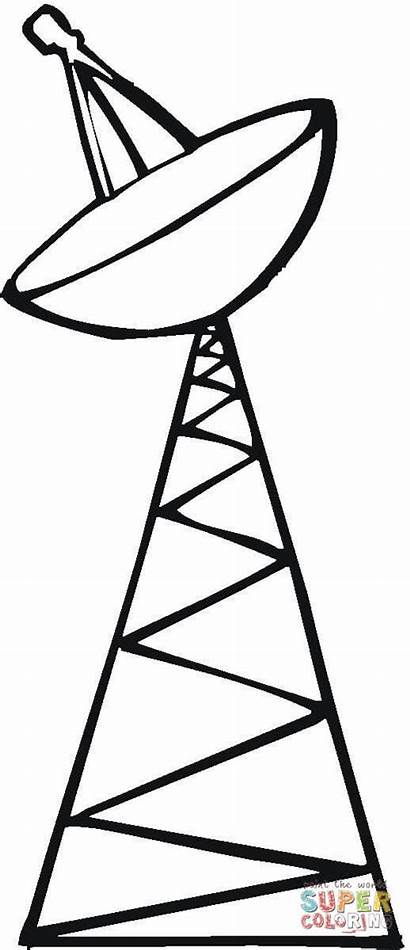 Satellite Coloring Tower Pages Satelite Clipart Drawing