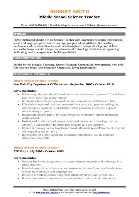 middle school science teacher resume sles qwikresume