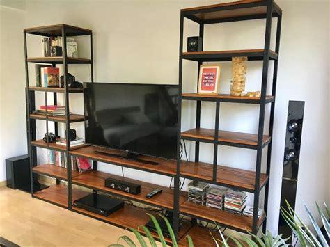 mueble  tv industrial estanteria metal madera vintage