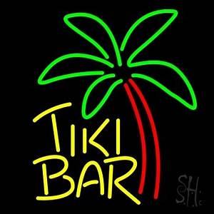 Yellow Tiki Bar With Palm Tree Neon Sign