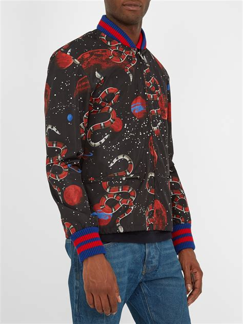 gucci synthetic space snake print detachable hood jacket