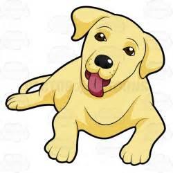 Cute Cartoon Yellow Lab Puppies