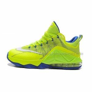 Nike LeBron 12 Low Neon Green Purple line For Sale