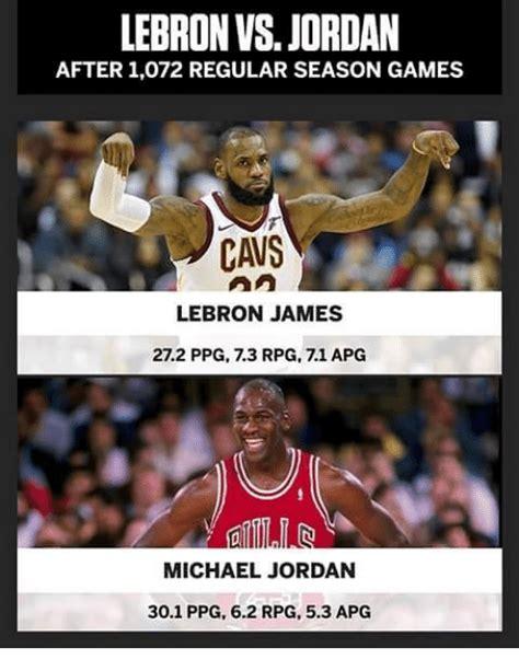Lebron Jordan Meme - lebron vs jordan after 1072 regular season games cavs lebron james 272 ppg 73 rpg 71 apg michael