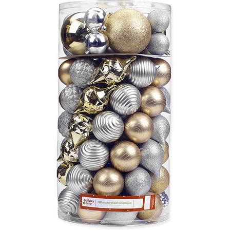 walmart ornaments pack time 120 80 70 60mm gold silver shatterproof ornaments set of