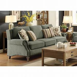 Coaster rosenberg rolled arm sofa in sage green 505221 for Sage green sectional sofa