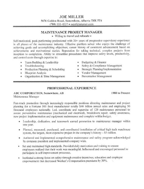 Technical Manager Resume Summary by Maintenance Manager Resume Sle Page 1 Resume Writing Tips For All Occupations