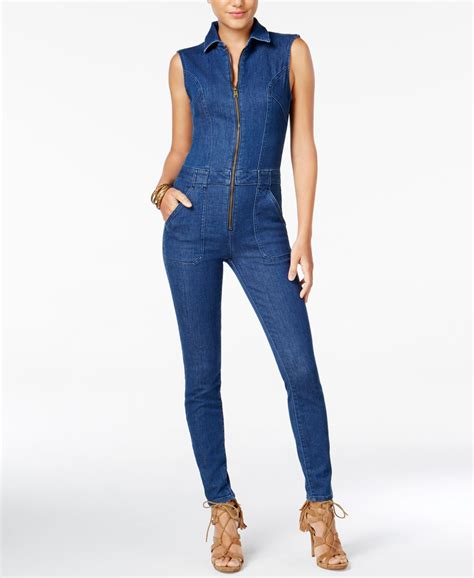 utility jumpsuit guess denim utility jumpsuit in blue lyst