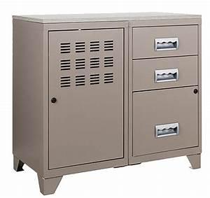 Meuble Tiroir Bureau : meuble bureau m tal 1 porte 3 tiroirs taupe ~ Teatrodelosmanantiales.com Idées de Décoration