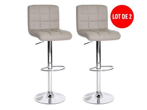 tabouret de bar de cuisine lot de 2 tabourets de bar réglable assise rotative nala coloris taupe vente de chaise de