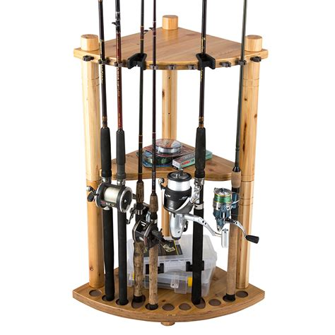 fishing pole storage rack 13 fishing rod wood corner storage rack light stain