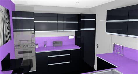 deco cuisine violet exemples pour une déco cuisine noir et violet