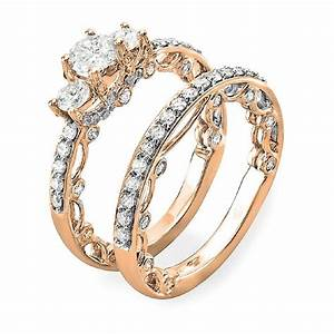 165 carat ctw 14k gold round diamond ladies vintage for Wedding ring engagement ring set