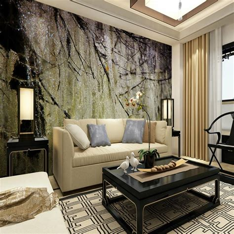 Wandgestaltung Tapete Wohnzimmer by 41 Living Room Wallpaper Murals 3d Mural Wallpaper