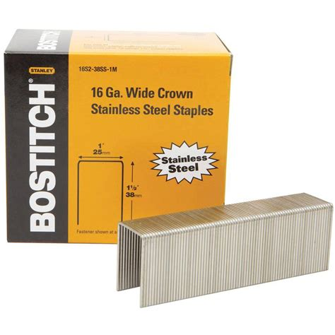 bostitch flooring staples home depot bostitch 1 1 2 in x 1 in 16 stainless steel crown