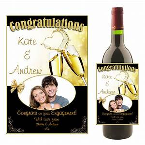 personalised wedding engagement congratulations wine With champagne bottle labels for weddings