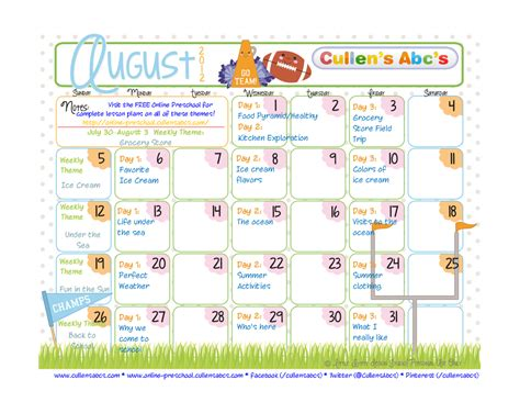preschool calendars christian children activities 378 | August Calendar 1024x791