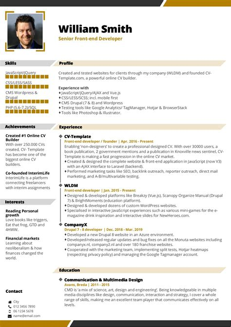 Cv In by Choose Your Cv Template Free Cv Builder