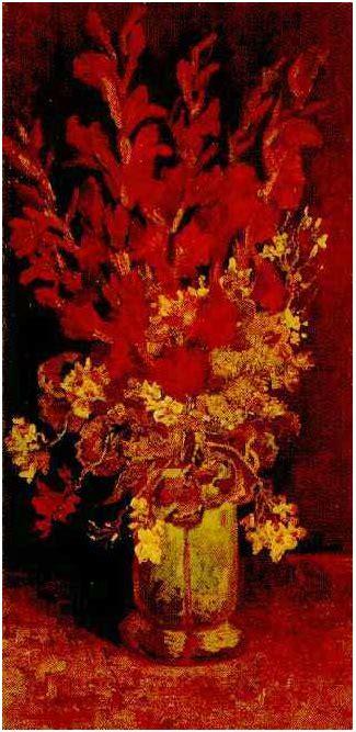vase  gladioli  carnations  vincent van gogh