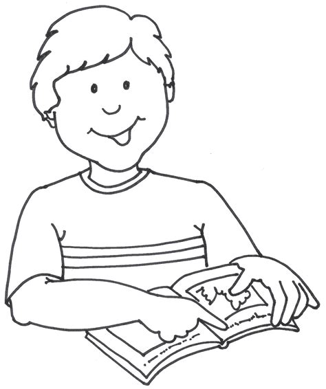 11892 student reading clipart black and white student reading a book clipart 54