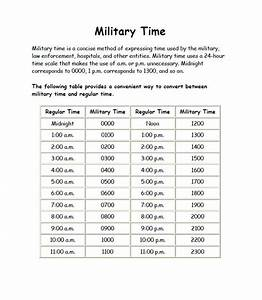 Military Time Charts Free Word Templates