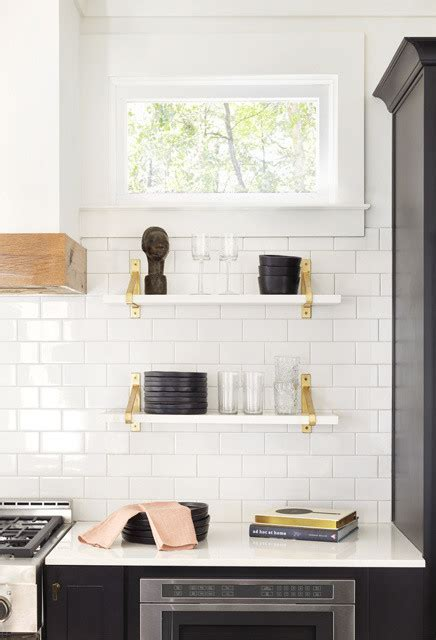 White Marble Shelves with Brass Brackets   Transitional
