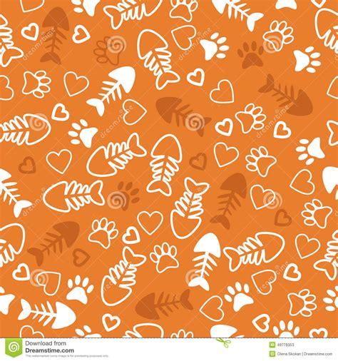 seamless pattern  cat paw prints fish bone  hearts
