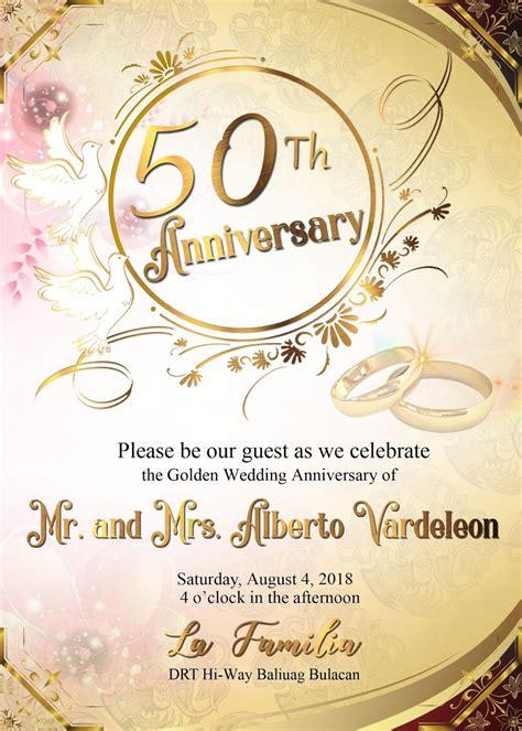 50th wedding anniversary sample invitation card GET