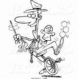 Unicycle Coloring Cartoon Entertainer Doing Tricks Vector Outline Male Toonaday sketch template