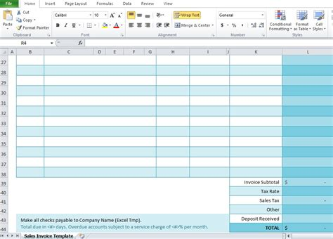 sales invoice template  excel excel tmp
