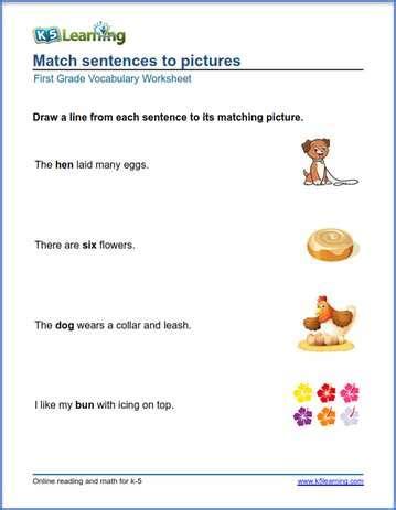 grade vocabulary worksheets printable