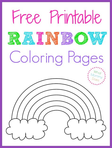 printable rainbow coloring pages  mommy