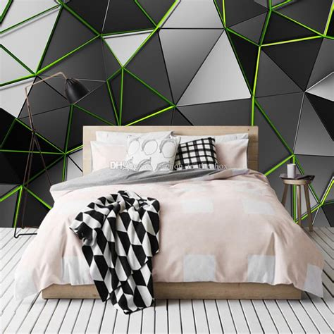 creative wallpaper geometry green  wall mural