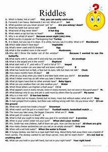 75 FREE ESL riddles worksheets