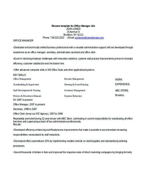 Office Manager Resume Template by Professional Manager Resume