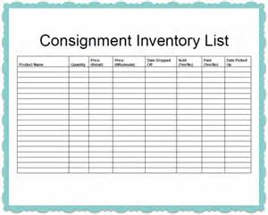Consignment Inventory Template