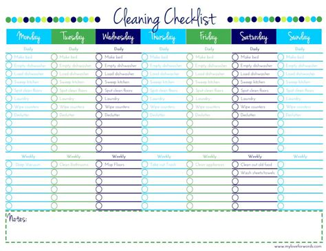 Cleaning Checklist {free Printable}
