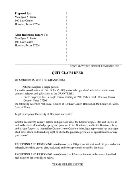 texas property deed form quit claim deed exle texas free download
