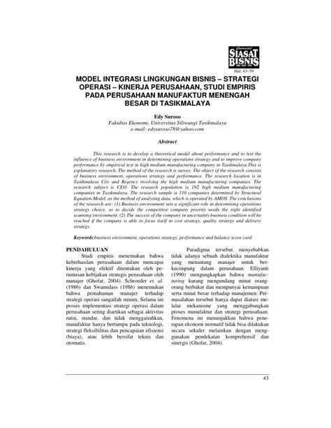 model integrasi lingkungan bisnisstrategi operasi