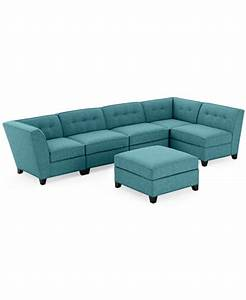 harper fabric 6 piece modular sectional sofa w ottoman With harper fabric 6 piece chaise modular sectional sofa