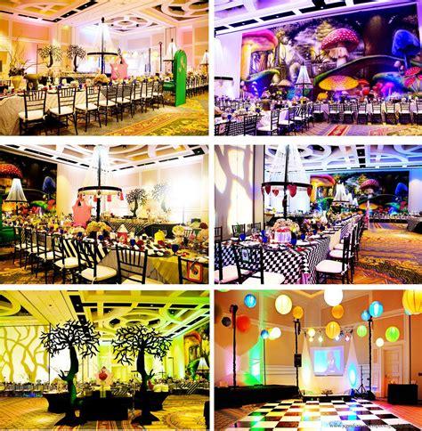tablescapes dancefloor party theme alice