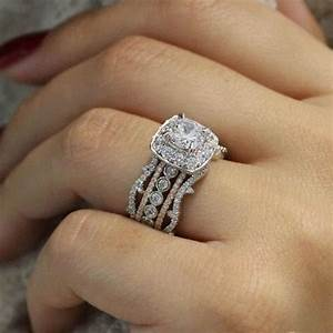18k white gold stacked vintage 5 band diamond engagement With stacked diamond wedding rings