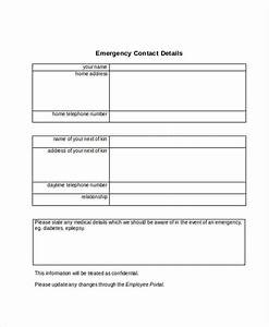 employee details form employee emergency contact details With next of kin form template